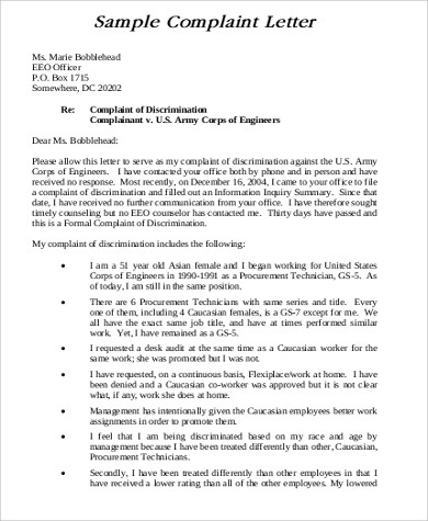 Sample Formal Complaint Letter - 8+ Examples In Word, Pdf