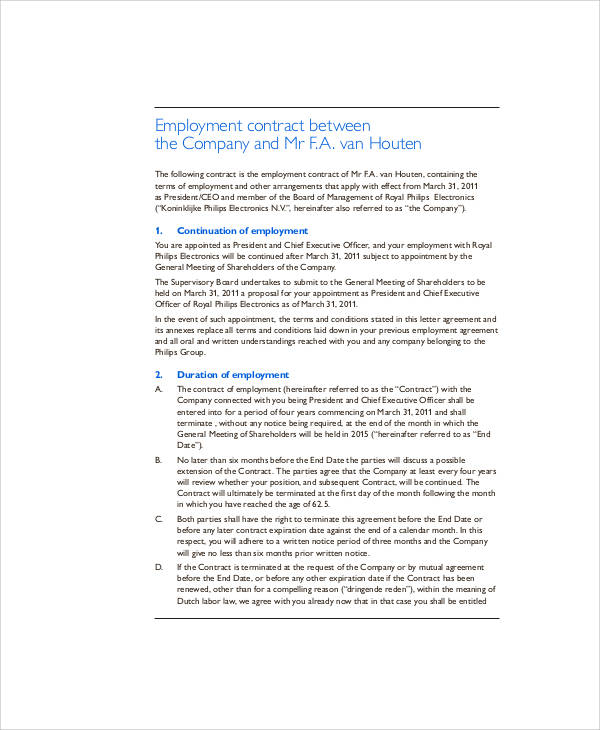 executive employment contract pdf