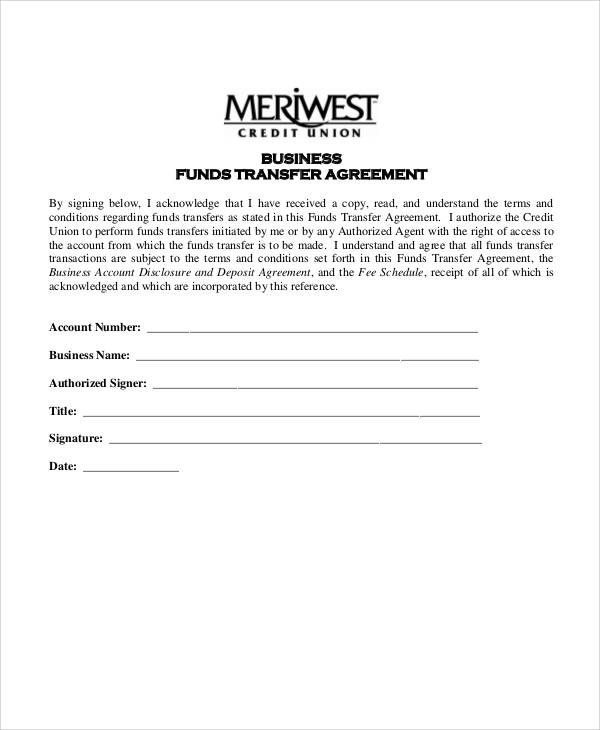 business account funds transfer agreement