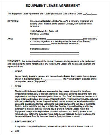 sample equipment lease agreement