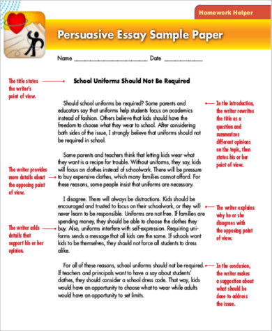 Persuasive Essay Sample   Examples In Word Pdf