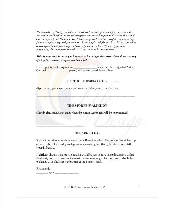 Separation Agreement Templates  Pdf Word