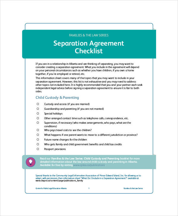 separation agreement form checklist