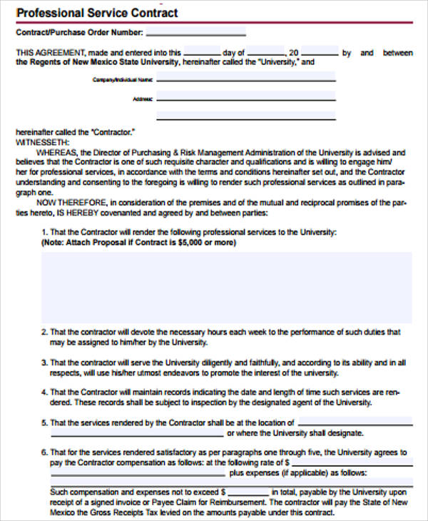 Simple Service Contract Sample 7 Examples in Word PDF – Simple Service Agreement