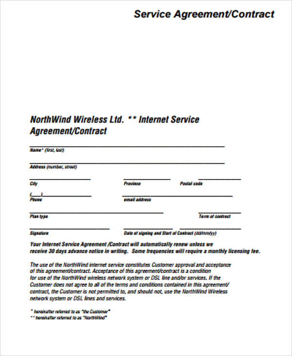 Simple Service Contract Sample   Examples In Word Pdf