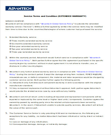 Sample Extended Service Contract   Examples In Word Pdf