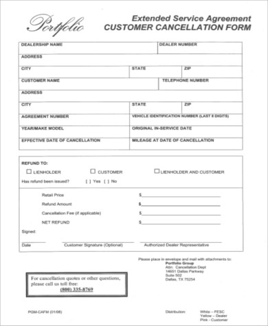 extended service agreement customer cancellation form