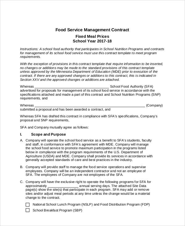 Contract Food Service Sample   Examples In Word Pdf