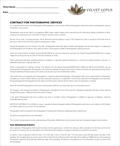 photography services contract sample