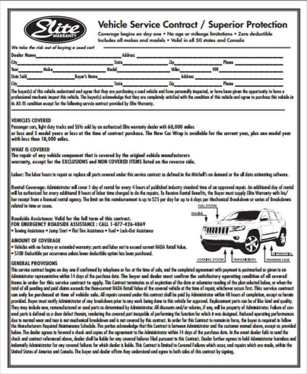 Sample Vehicle Service Contract   Examples In Word Pdf