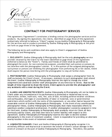 Sample Photography Services Contract   Examples In Word Pdf