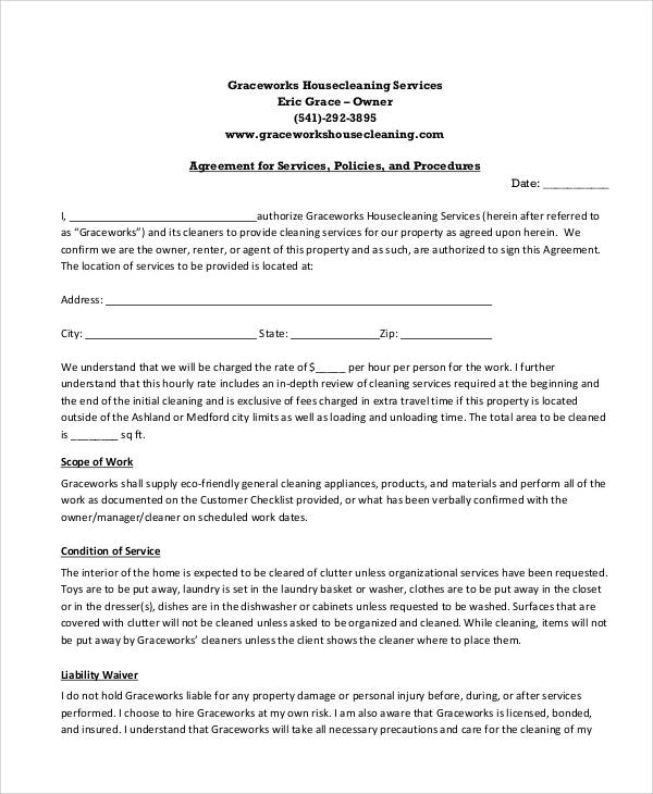 7 sample cleaning service contract sample templates for Cleaning service contracts templates