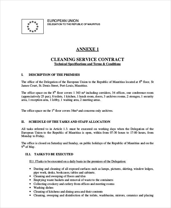 Sample Cleaning Service Contract   Examples In Word Pdf