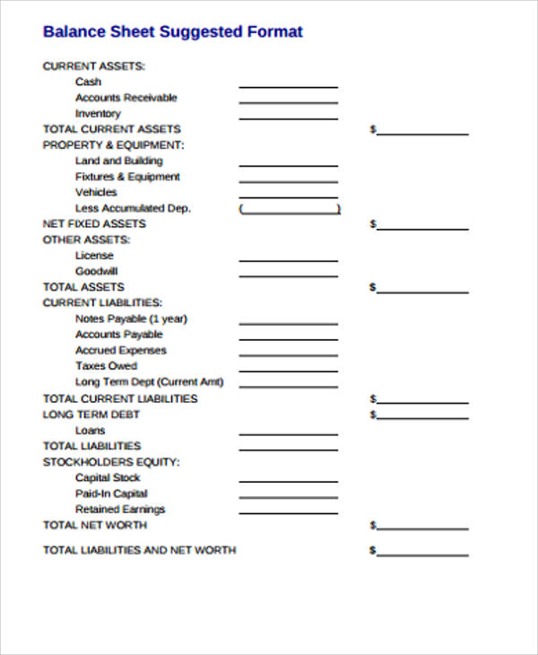 Sample Balance Sheets In Pdf   Examples In Word Pdf