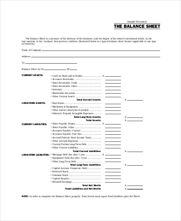 Balance Sheet Example - 8+ Samples In Word, Pdf