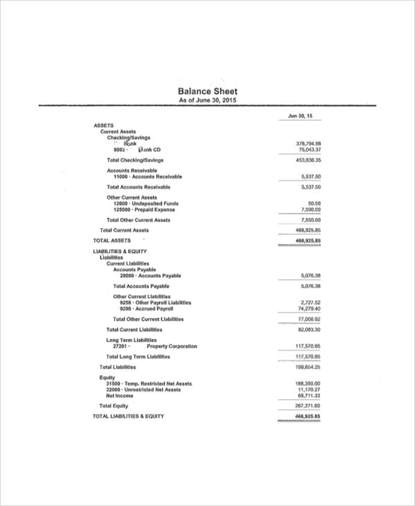 balance sheet example 8 samples in word pdf