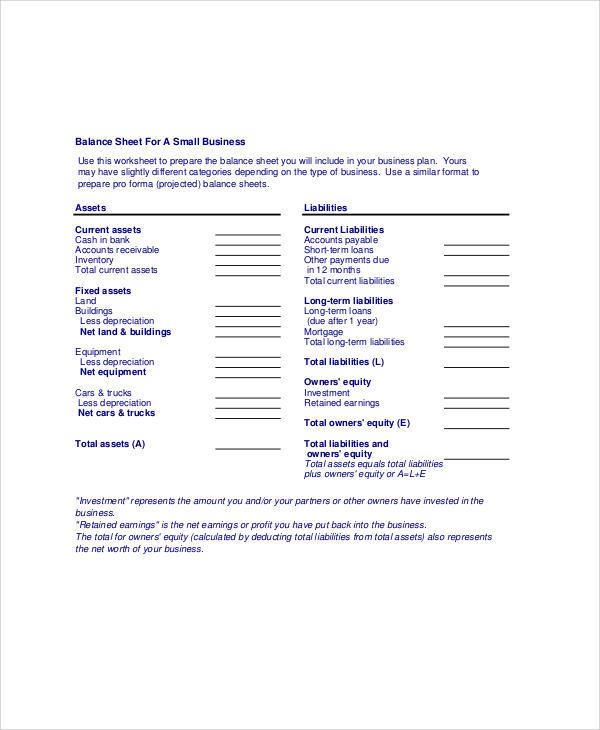 Classified Balance Sheet Template