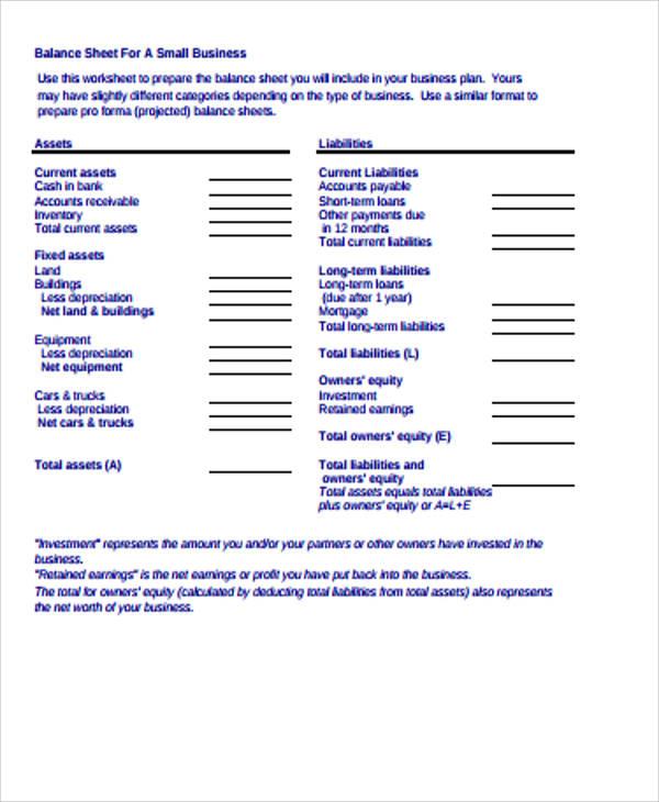 small business balance sheet