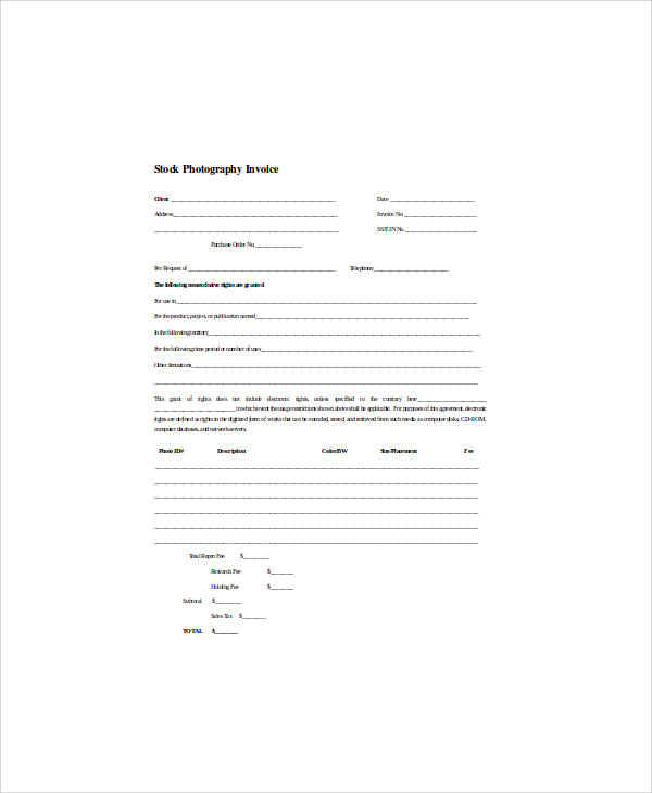 stock photography invoice