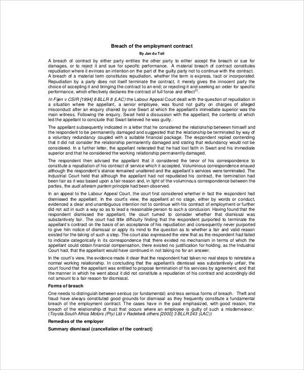 High Quality Breach Of Employment Contract By Employer In PDF Awesome Design