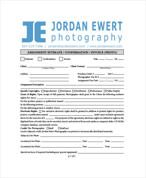 Sample Photography Invoice   Examples In Word Pdf