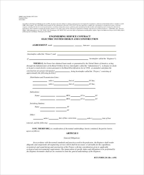 Service Contract Form Sample 9 Examples in Word PDF – Service Contract Format
