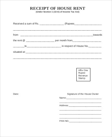 printable rent receipt form