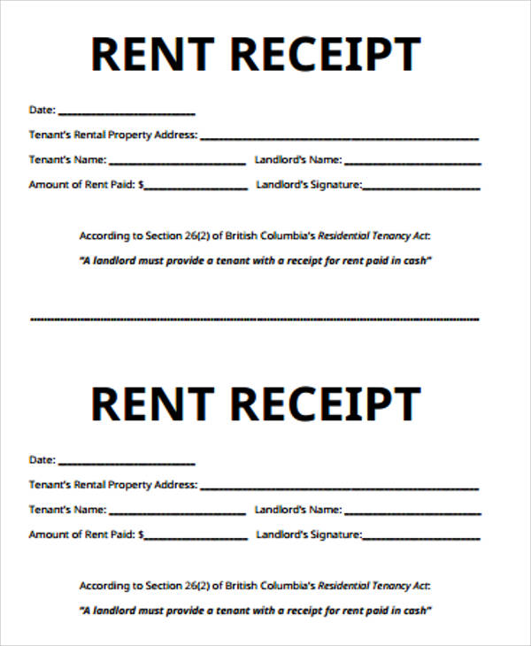 Receipt for Rent Sample 7 Examples in Word PDF – Tenant Receipt