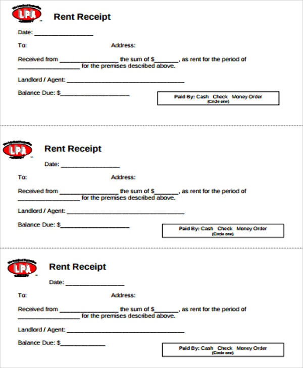 Blank Rent Receipt Sample 6 Examples in Word PDF – Rent Receipt Sample