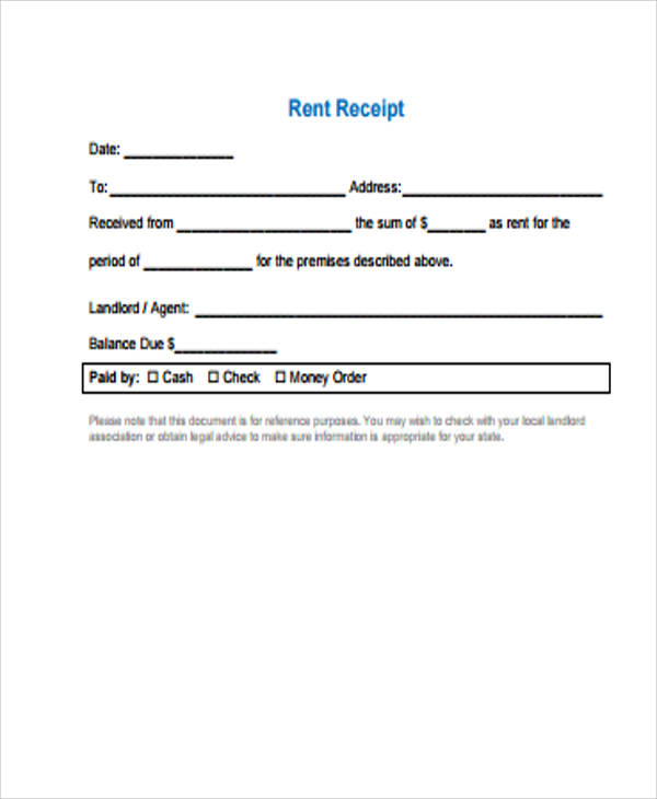 Blank Rent Receipt Sample - 6+ Examples In Word, Pdf