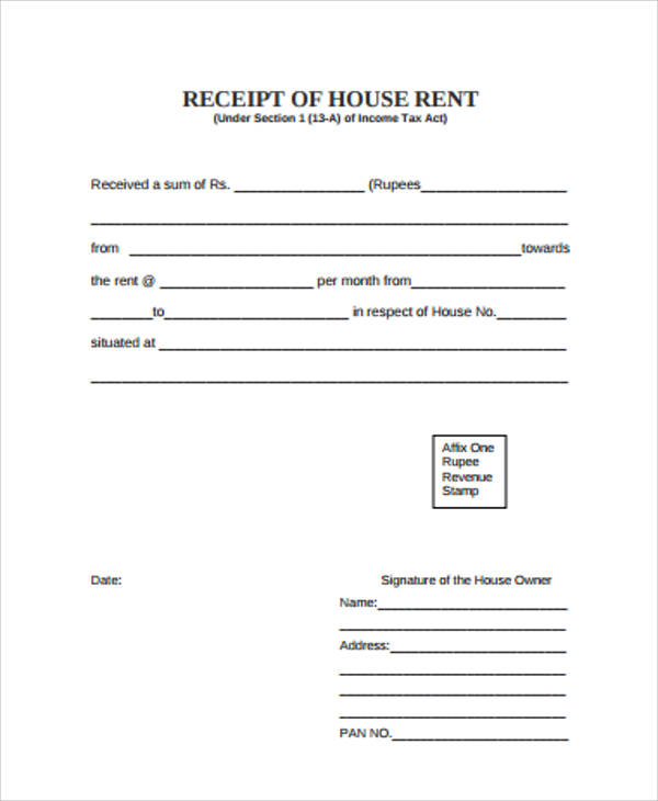 house rent receipt example