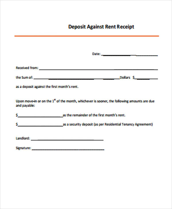 deposit against rent receipt example