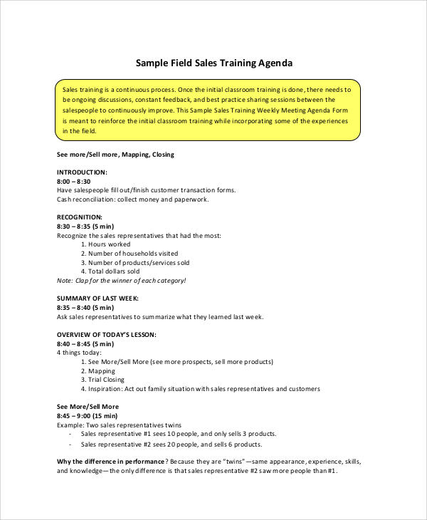 Delightful Sales Meeting Agenda Sample