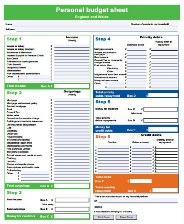 personal budget balance sheet