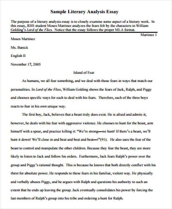 Writing An Analytical Essay  Essay On Ramadan also Good Night And Good Luck Essay Literary Essay Example   Samples In Word Pdf Essay On Down Syndrome