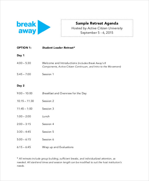free sample staff retreat agenda