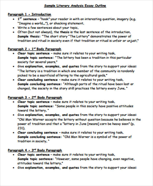 Examples of literary analysis essays middle school