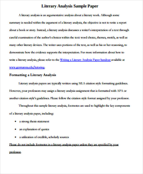 Literary essay example 9 samples in word pdf