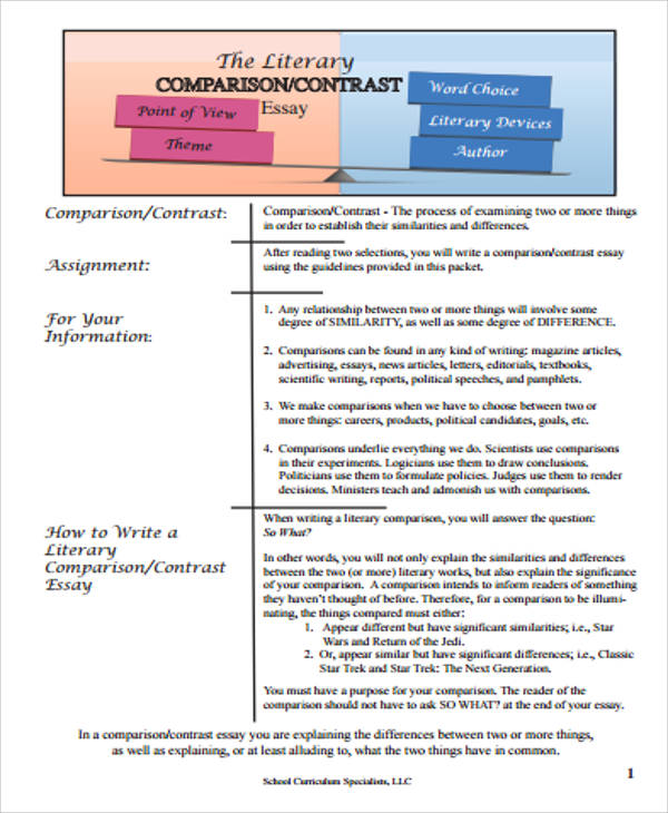 literary analysis comparison contrast essay It will explain how to compare and contrast both literary and informational texts literary analysis in this video you should now be aware of how to find information for comparing and contrasting texts and incorporating them into your paper.