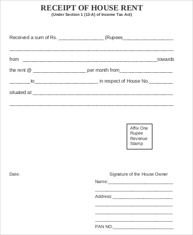 Sample House Rent Receipt   Examples In Word Pdf