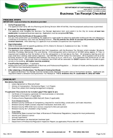 business tax receipt checklist
