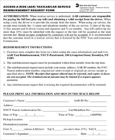 printable car service reimbursement receipt