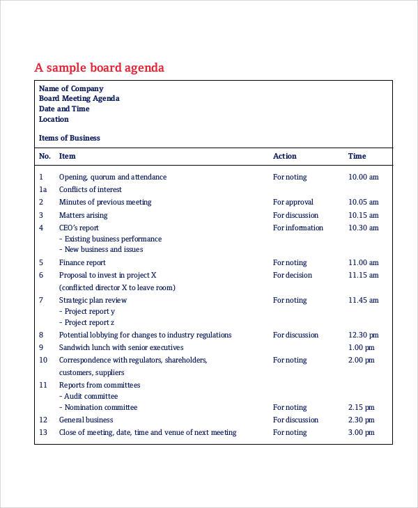 sample board meeting agenda1