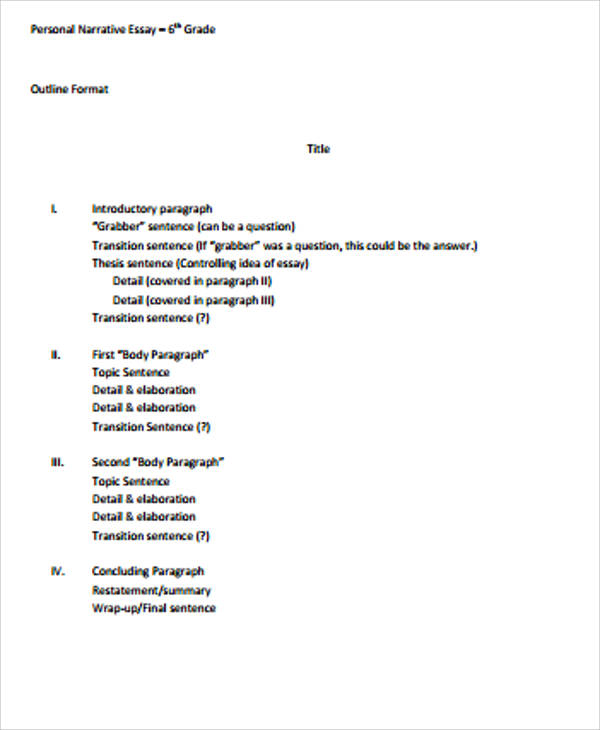 narrative essay outline example A narrative essay outline – framework of an essay narrative essays are unique in that research is conducted within the scope of your personal life and.