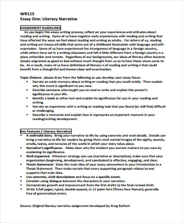 sample narrative essay examples in word pdf literacy narrative essay