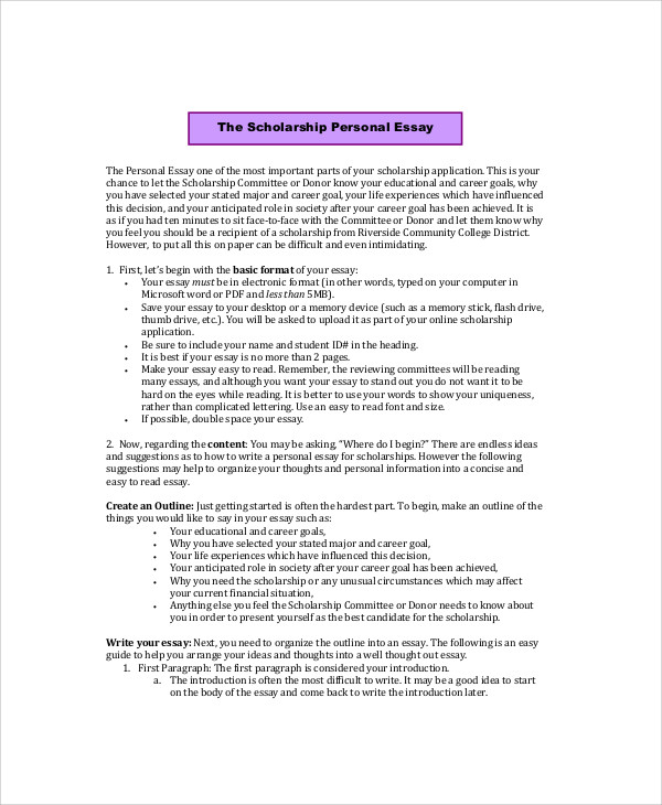 Sample Personal Essay   Examples In Word Pdf