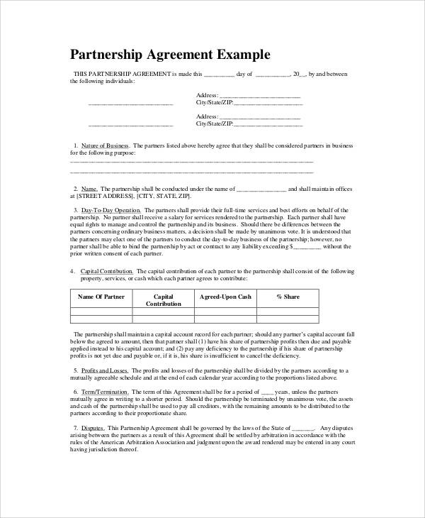 6 simple business partnership agreements sample templates for Corporate partnership agreement template