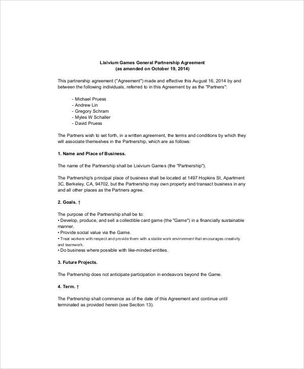 Simple Business Partnership Agreement - 7+ Examples in Word, PDF