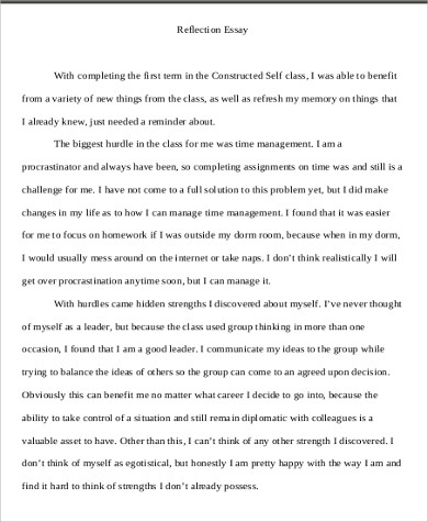 self reflective essay sample - Examples Of Self Reflection Essay