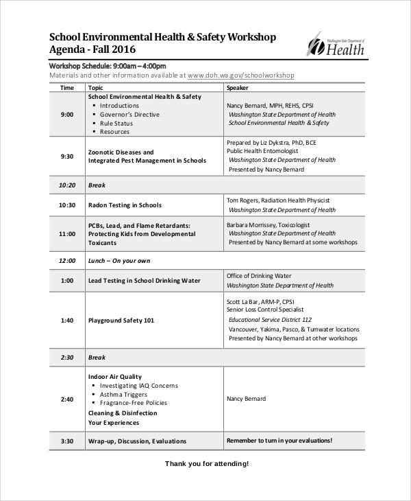 school workshop agenda